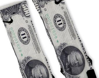 139715d8650e Custom 500 Dollar Bill Nike Elites Socks