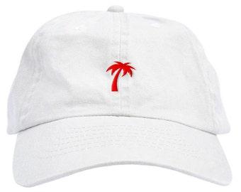 54b2dcfb75327f Red Palm Tree Dad Hat Baseball Cap Low Profile