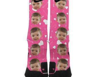 Personalized Pink Scattered Hearts Valentines Custom Baby Nike Elite Socks