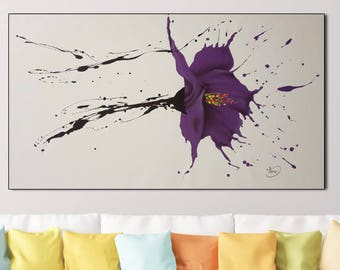 Flower Painting Original  Painting Large Canvas Art Abstract . by Tomer Sharabani