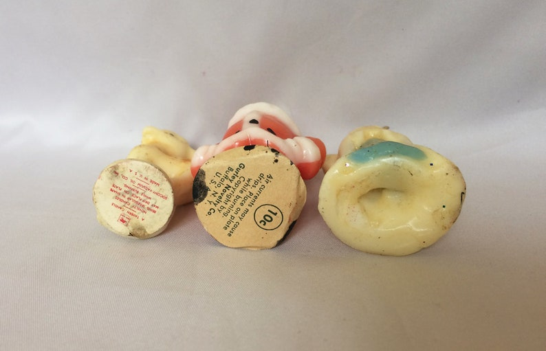 Gurley Tavern Christmas Candles 3 Vintage Christmas Candles Vintage GURLEY Candles 1940s Gurley Santa Rudolph Angel Candle Decorations