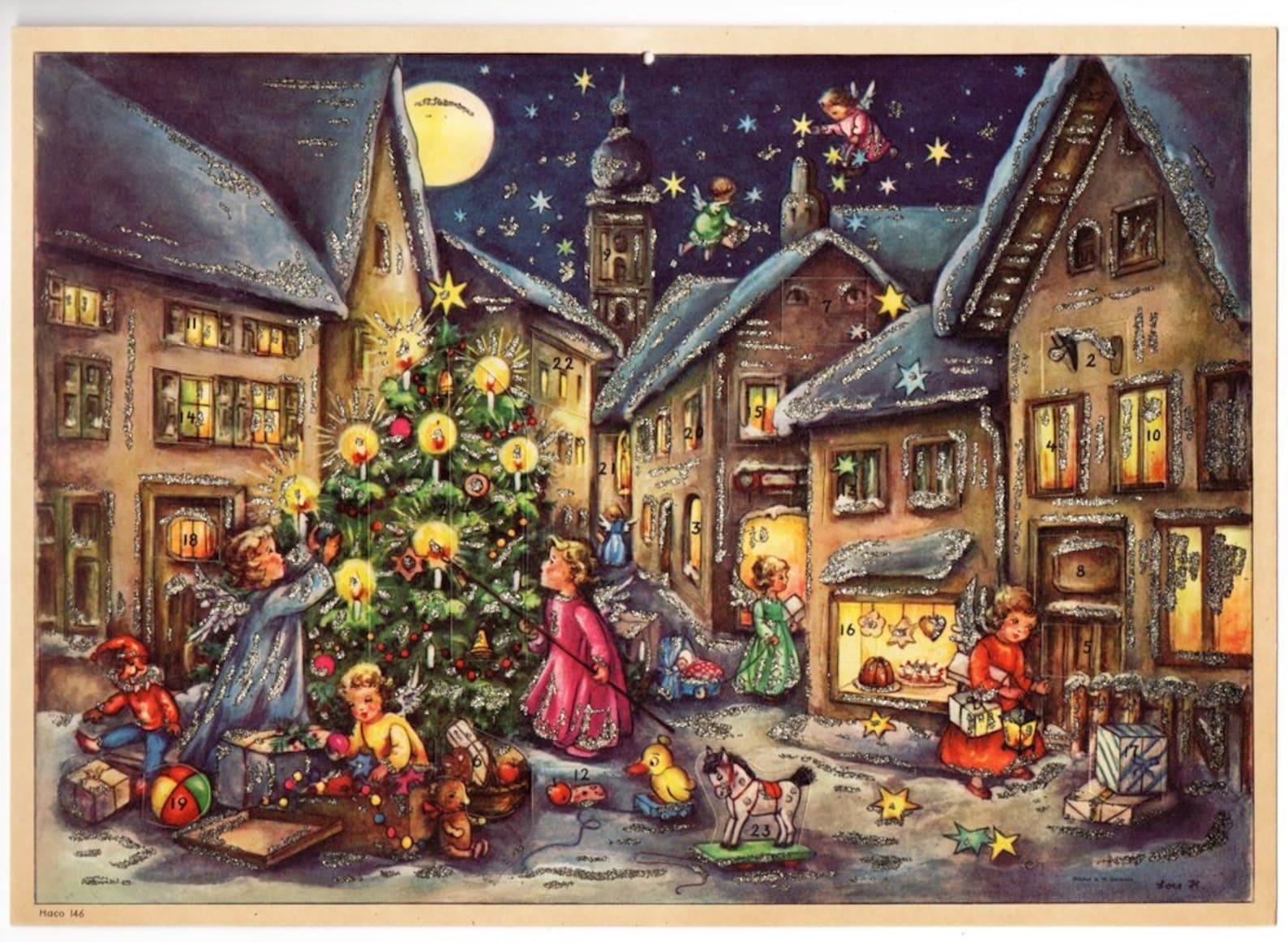 Vintage UNUSED German ADVENT CALENDAR Angels Christmas Tree Count Down Calendar, Mid Century German Christmas Decorations, 1950s Christmas