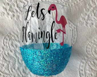 Flamingo Glitter Dipped Wine Glass // Let's Flamingle Wine Glass // Glitter Wine glass