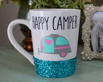 Happy Camper Glitter Mug // Glitter Coffee Mug // Camping // Happy Camper