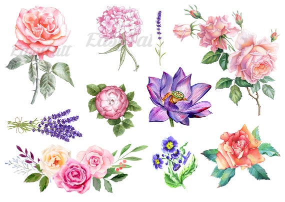 cd221eca0 Watercolor Temporary Tattoos Floral Temporary Tattoos Gift | Etsy