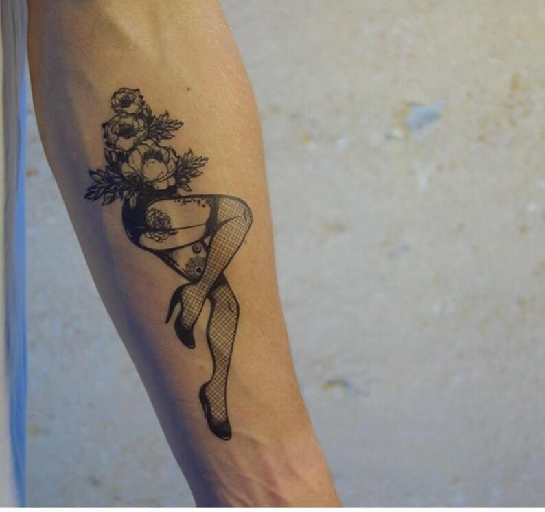 Pin Up Tymczasowy Tatuaż Femme Fatale Tymczasowy Tatuaż Sexy Tatuaż Tymczasowy Fake Tatuaże Tatuaż
