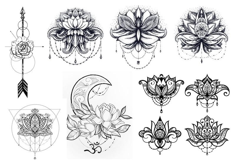 006dd765d07a0 Lotus Flower Temporary Tattoos Arrow Temporary Tattoos | Etsy