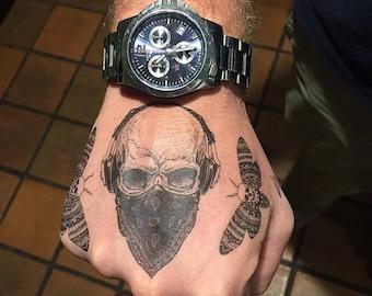 Gangster Skull Temporary Tattoo