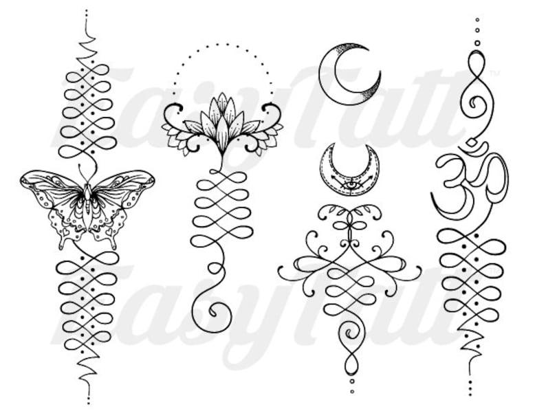 f8b90a7510ecd Unalome Temporary Tattoos Unalome Lotus Temporary Tattoo   Etsy