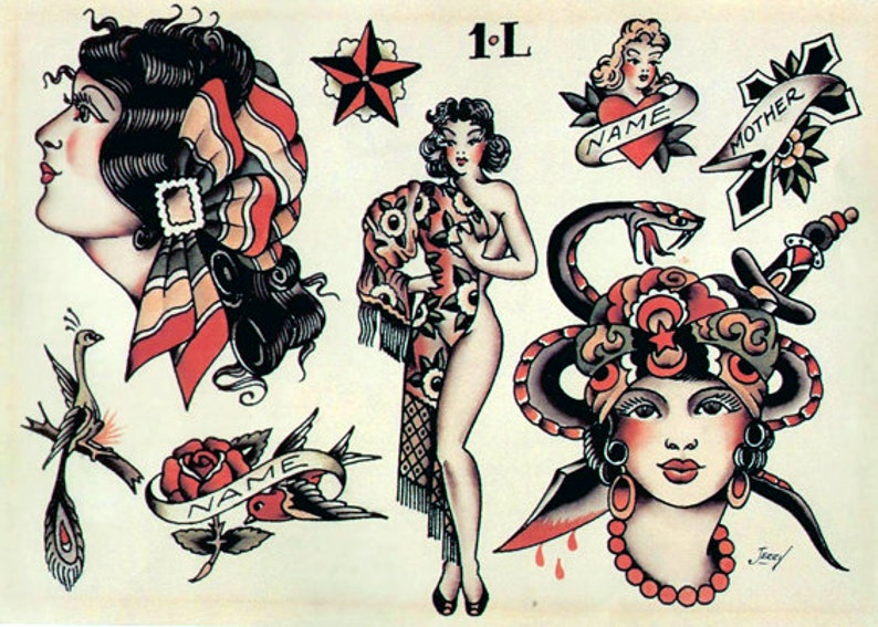 5965a1efd29af Sailor Jerry Temporary Tattoos Vintage Temporary Tattoos | Etsy