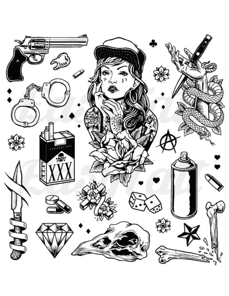 Gangster Temporary Tattoos Thug Temporary Tattoos Gang Etsy