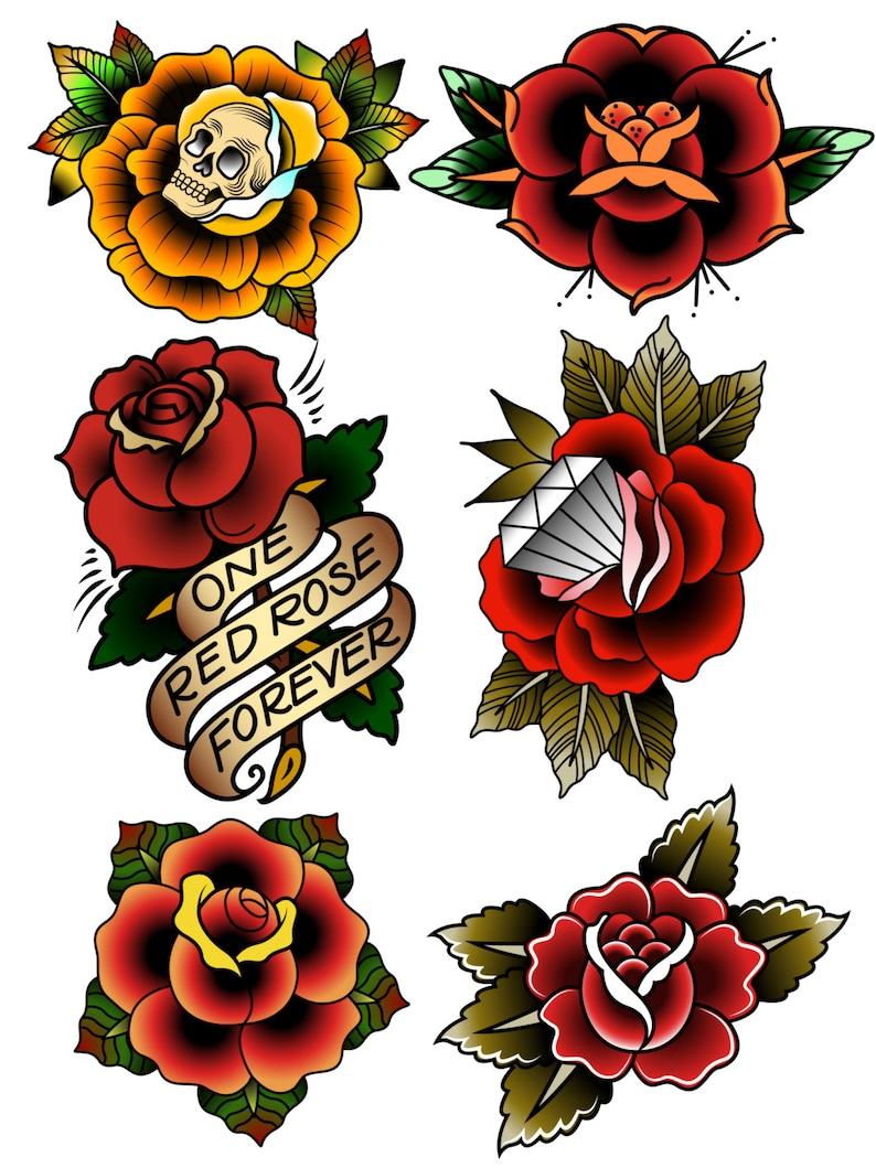 2b666fdd4 Traditional Temporary Tattoos Rose Temporary Tattoos Fake | Etsy