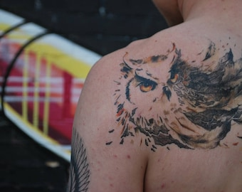 Owl Temporary Tattoo