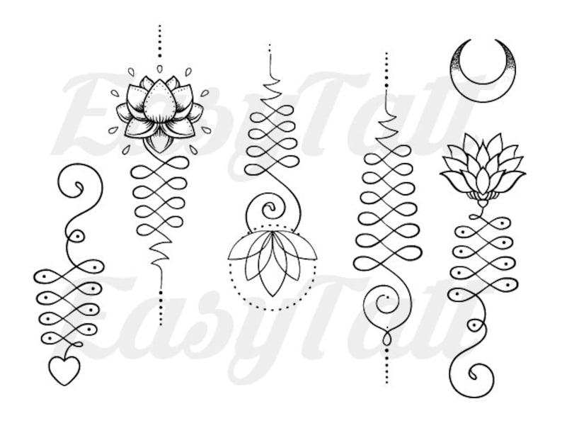 675422f6c Unalome Temporary Tattoos Unalome Lotus Temporary Tattoo | Etsy