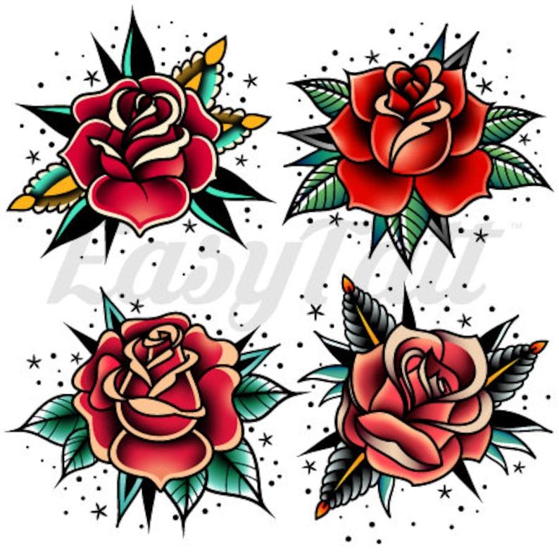 0e302222f Traditional Rose Temporary Tattoos Rose Tattoos Temporary Rose | Etsy