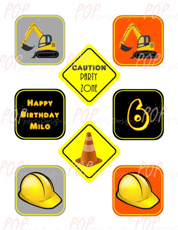 Personalized Construction Birthday Cupcake Toppers Printable Digital File