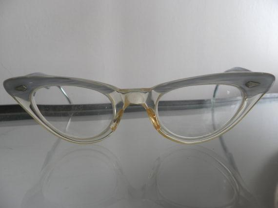 1951 Vintage cat eye women's glasses blue enamel f