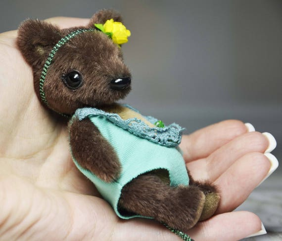 Miniature teddy bear 3.5 inc stuffed brown bear for Blythe/'s dolls