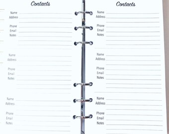Personal Size Address Book, Contacts Inserts for Ringbound Planners