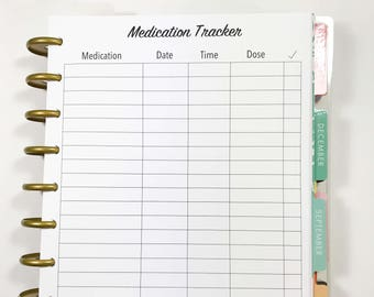 Medication Tracker, Medication Log Inserts for Medium, Classic Happy Planner, Discbound Planner