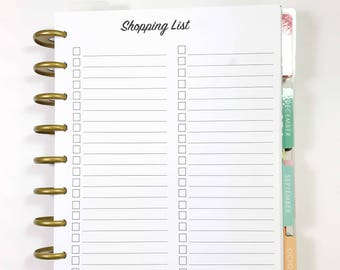 Shopping List, Grocery List Inserts for Medium, Classic Happy Planner, Discbound Planner