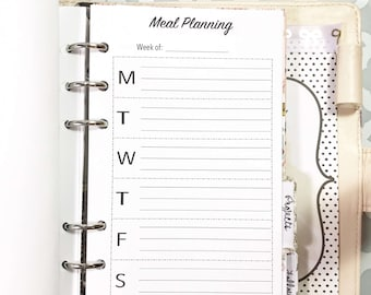 Personal Size Meal Planning, Grocery, Meals, Dinner Inserts for Ringbound Planners
