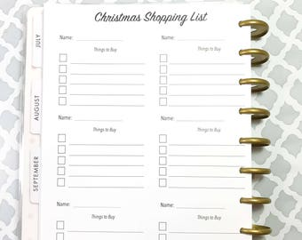 Christmas Shopping List, Christmas Inserts for the Medium, Classic Happy Planner, Discbound Planner