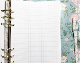 Half Letter Size Graph Paper, Grid Paper Inserts for A5 Ringbound Planners, A5 Ring Planners, A5 Binders