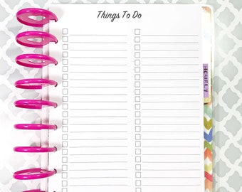 To Do, Checklist, Tasks Inserts for Medium, Classic Happy Planner, Discbound Planner