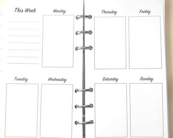 Personal Size UNDATED Vertical Week on Two Pages, WO2P, Vertical Layout Inserts for Ringbound Planners