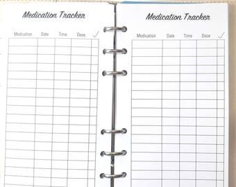 Personal Size Medication Tracker, Medication Log Inserts for Ringbound Planners