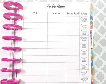 Reading Log, Books, Reading Tracker, To Be Read Inserts for Medium, Classic Happy Planner, Discbound Planner
