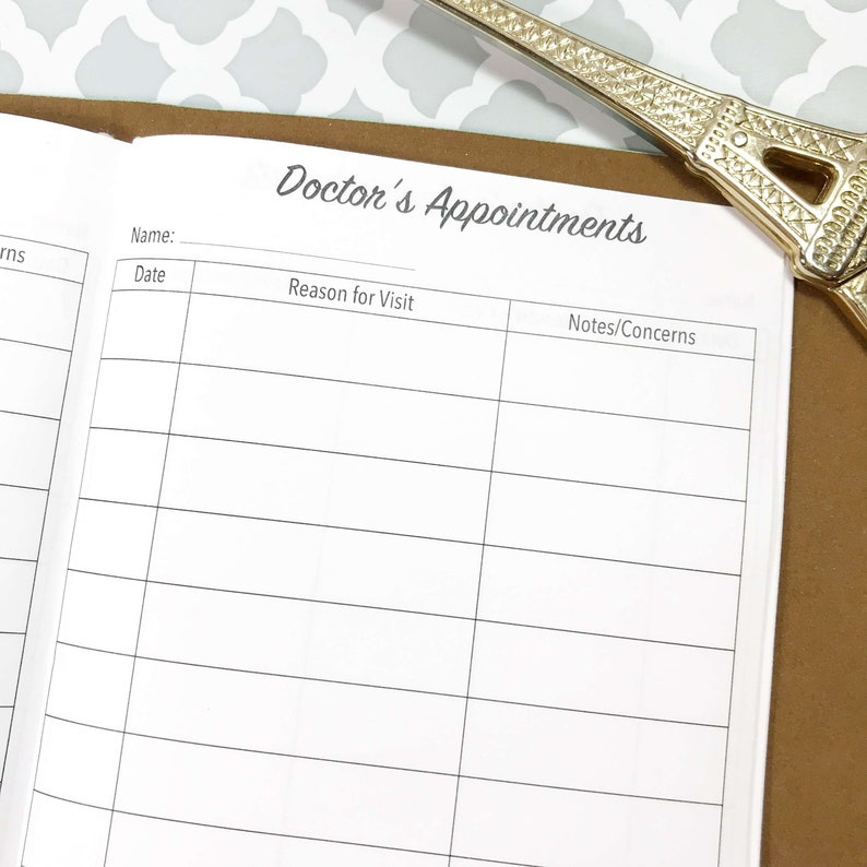 Traveler/'s Notebook Doctor Appointment Tracker Appointment Tracker Doctor Visits Doctor Log Doctor Notes Inserts