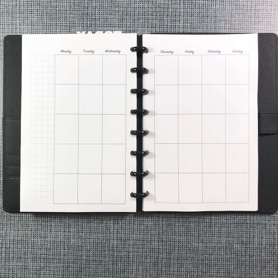 Junior Size TUL Discbound Undated Weekly//Monthly Refill Pages