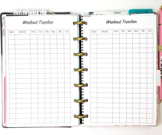 workout tracker workout log exercise tracker exercise log etsy