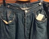 1940s Style Levi s reissue braces button jeans w cinch back size 34