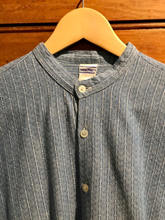 60s blue striped heavy cotton collarless shirt