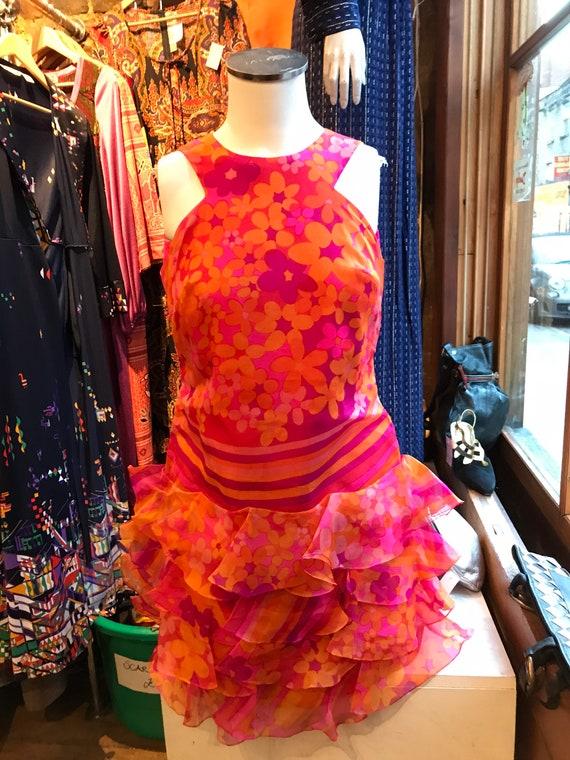 Glorious 1960s silk organza ruffled hem dress