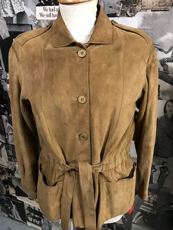 1990s tan soft suede belted jacket