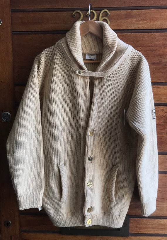 80s Cream Wool Shawl Collar Cardigan