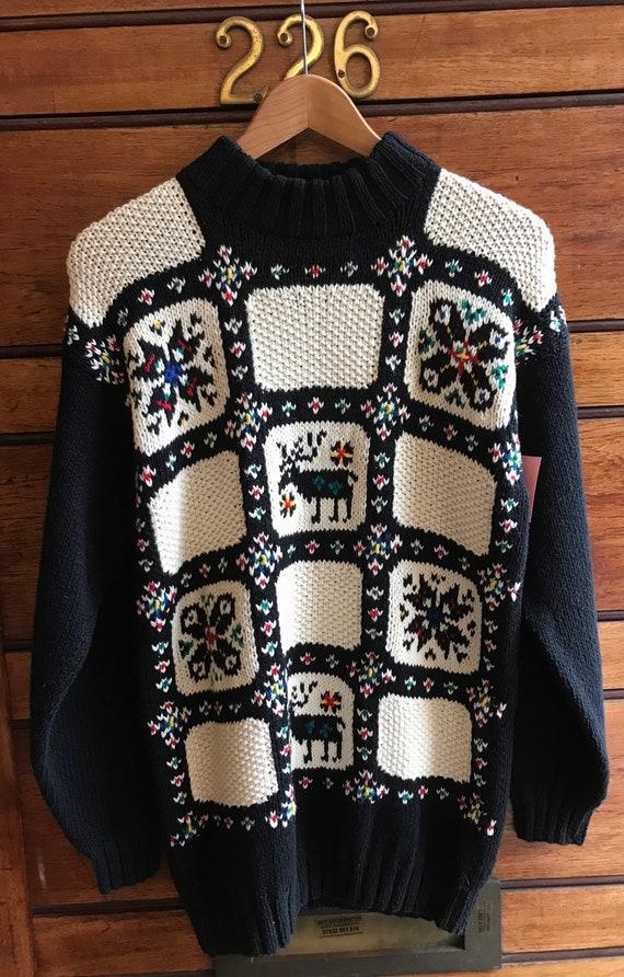 1980s Novelty Reindeer Hand Knit - image 1