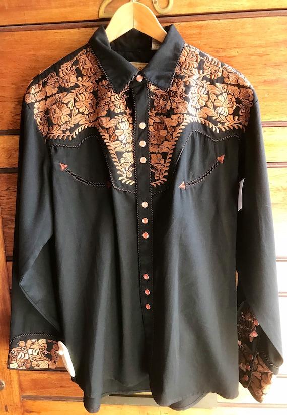 Black & Bronze Embroidered Western Shirt