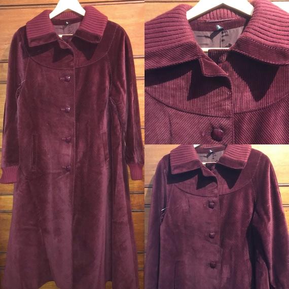 1970s maroon corduroy coat