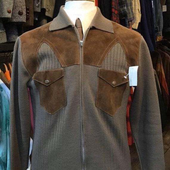 70s Mocha Wool / Suede cardigan