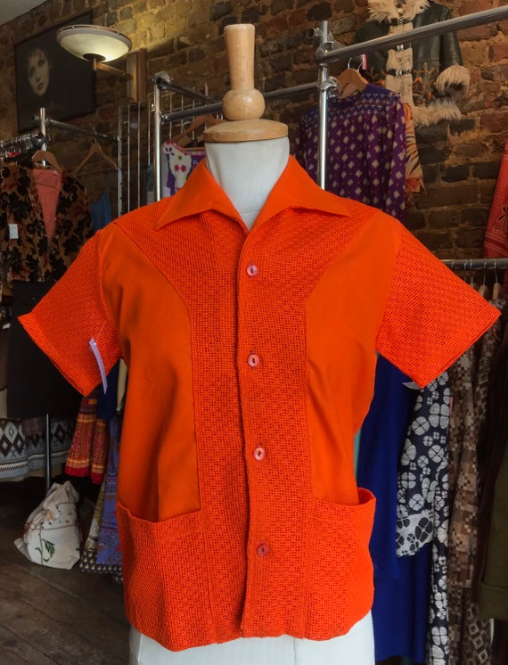 1950s Orange Cotton & Mesh Shirt