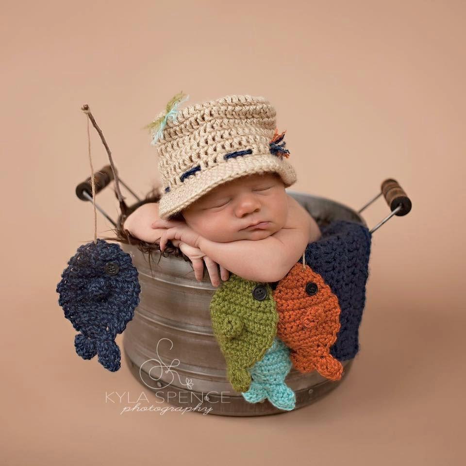 Crochet Fisherman Hat Baby Fishing Hat Newborn Photo Prop  8c7b36940ff