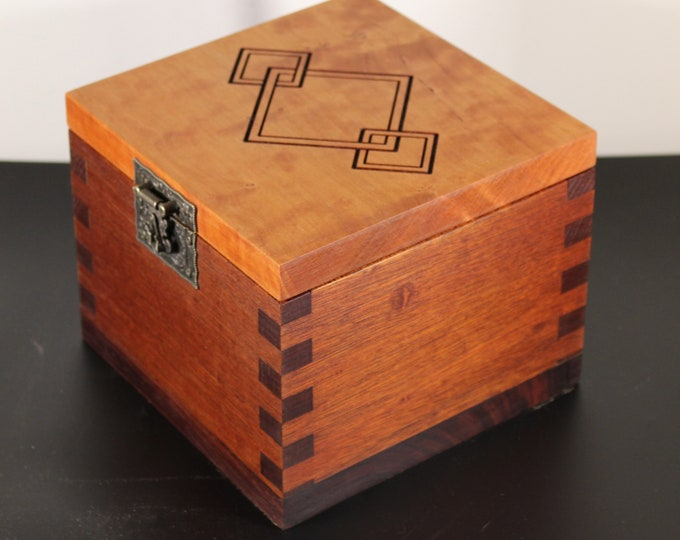 handcrafted mahogany and cherry keepsake box