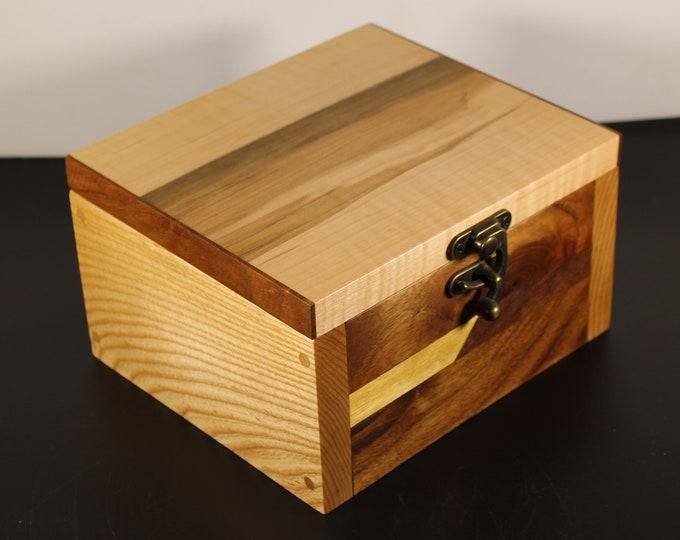 Handmade keepsake box with black walnut and tiger maple