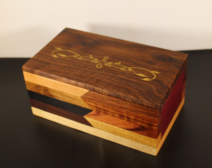 Handcrafted colorful keepsake box with sliding top