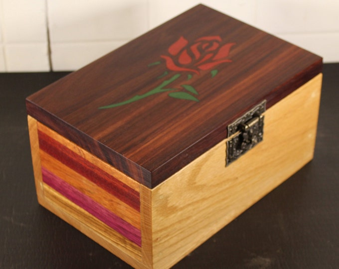 Handmade inlaid rose wooden keepsake box
